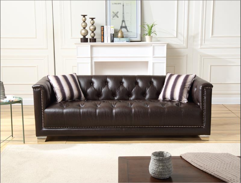 [Hot Item] Classic Style Modern Design Full Kd Chesterfield Leather Sofa Set