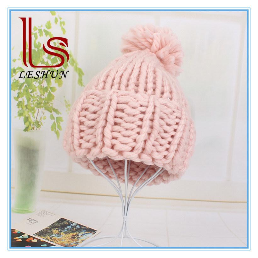 ce4ecb79514 China New Fashion 2017 Winter Chunky Knit Beanies Plain Custom Bobble Hats  - China Beanie