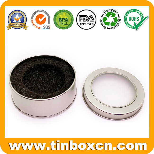 Round Metal Clear Window Tin Can with Insert Sponges for Gift Packaging Box pictures & photos