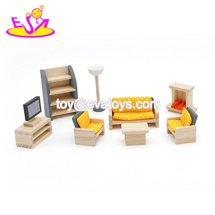 China New Design Children Pretend Play Wooden Dollhouse Furniture