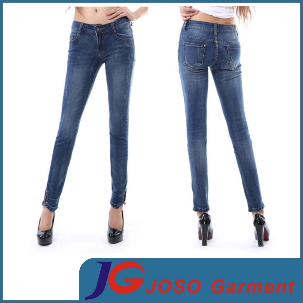 China Factory Young Ladies Basic Jean Pants (JC1220)