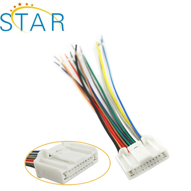 custom auto audio wire harness stereo wire harness suitable for nissans  with 24pin connector