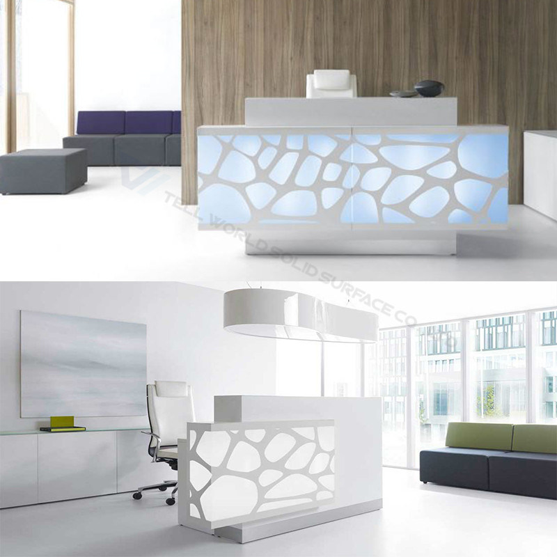 China Marble Counter Tops Spa Led White Salon Reception Desk Counter
