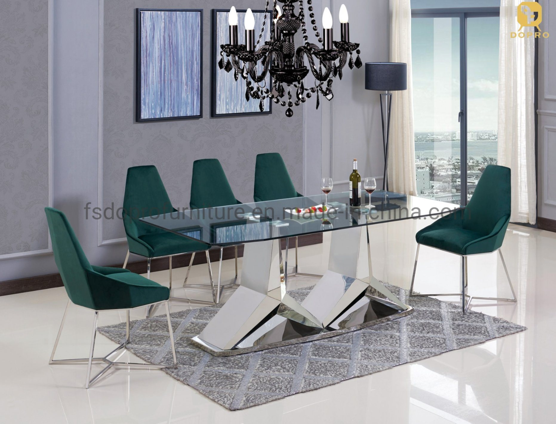 China Stainless Steel Leg Dining Table With Chairs Dining Room Sets Modern Luxury Metal Table D1805 China Dining Table Stainless Steel Table