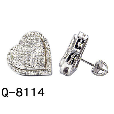 ae5a59acf Handmade Fashion Hip Hop Jewelry 925 Sterling Silver Cc Pave Stud Heart  Earrings for Men