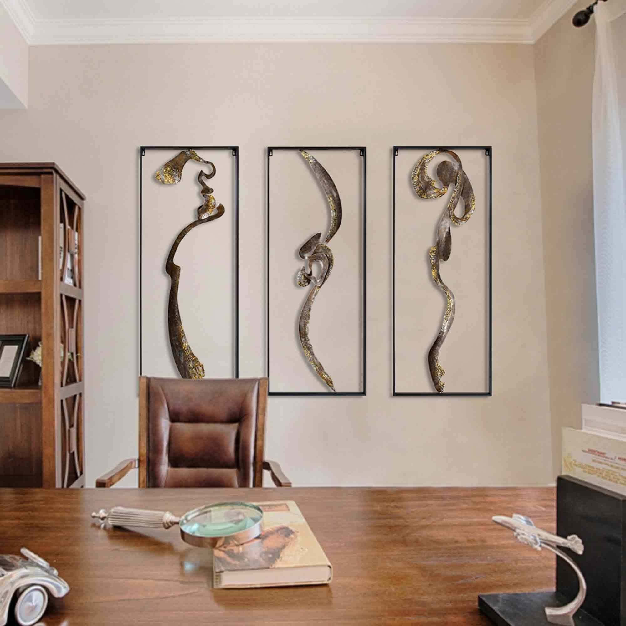 Hot Item Handmade Abstract Asian Metal Wall Art Decor Chinese Calligraphy Art Iron Framed For Home Decor