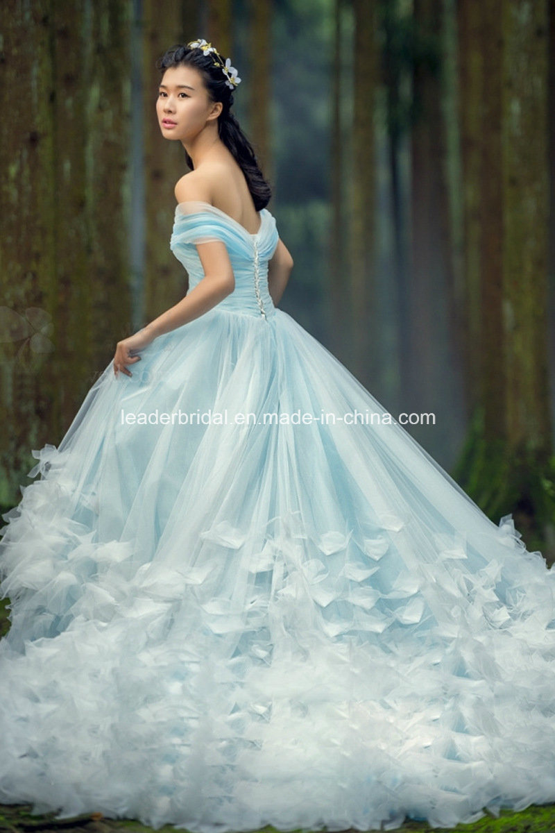 China Blue Ball Gowns 3D Flowers Tulle Wedding Bridal Dresses Z5004 ...