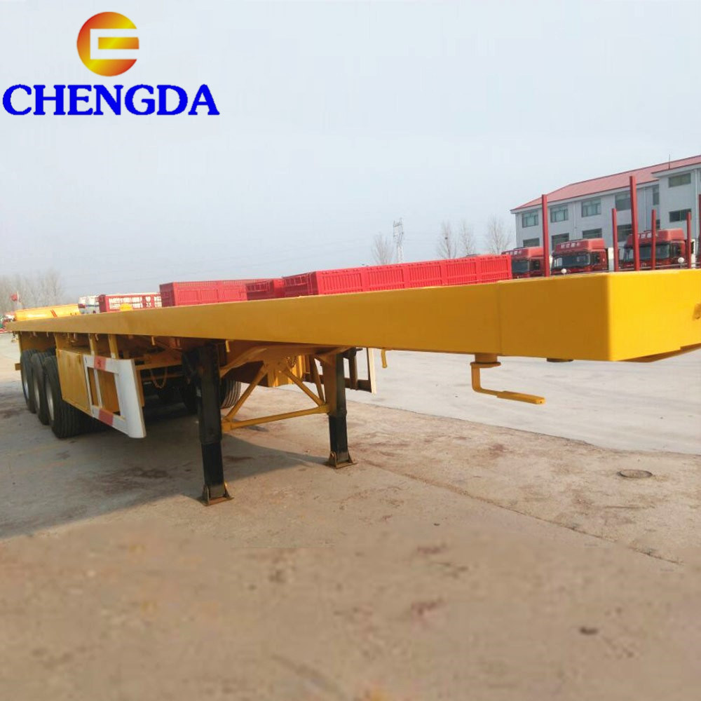 Flatbed For Sale >> Hot Item 3 Axle 40ft Chassis Flatbed Container For Sale