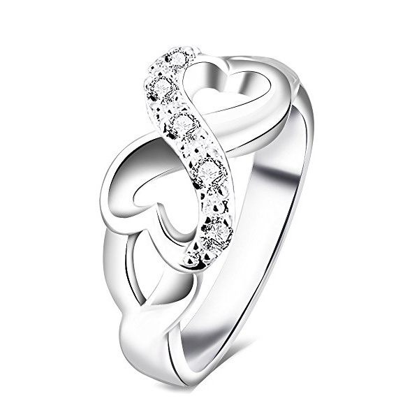 China Womens 925 Sterling Silver CZ Heart Infinity Symbol Wedding