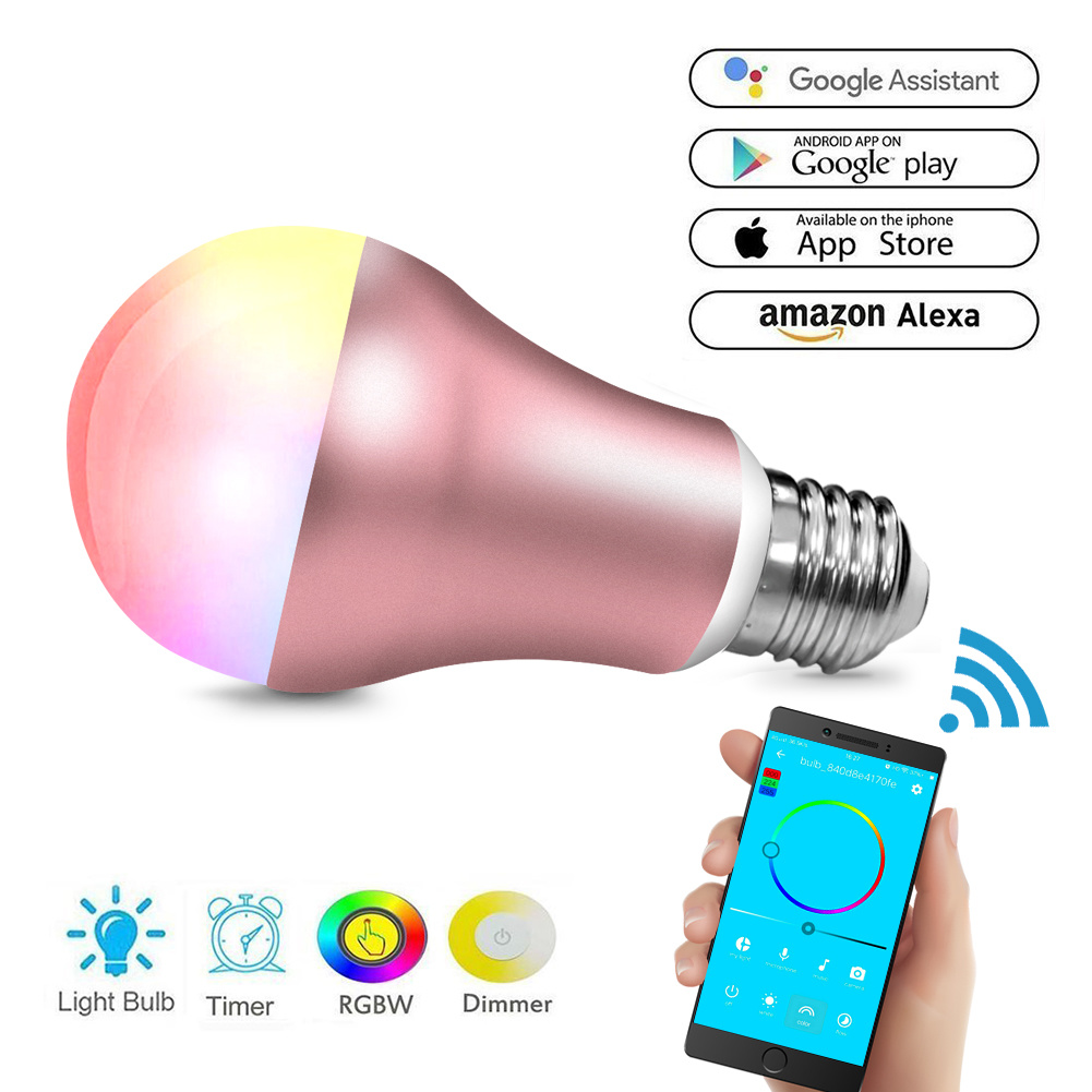China Wifi Smart Led Light Bulb Compatible With Alexa Home All Electrical Appliances Including Bulbs Stereos And Automation Dimmable Night 60w Equivalent A19 Rgbw Color Changing