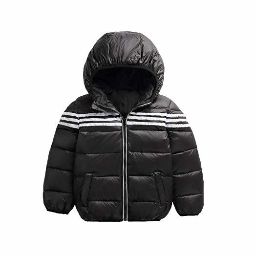 2583fadce [Hot Item] Kids Clothing Goods Boys Girls Warm Down Coat 3 Bars Thick  Hooded Jacket