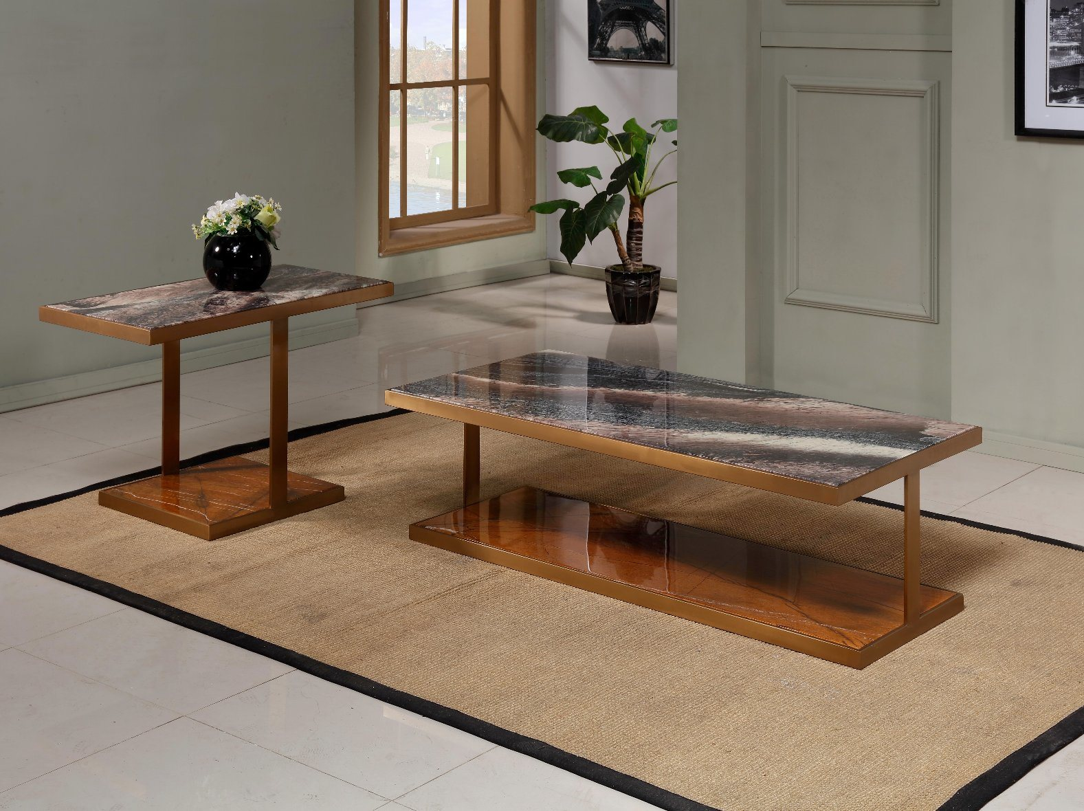 Hot Item Morden Luxury Square Coffee Table Set With Nature Marble Top