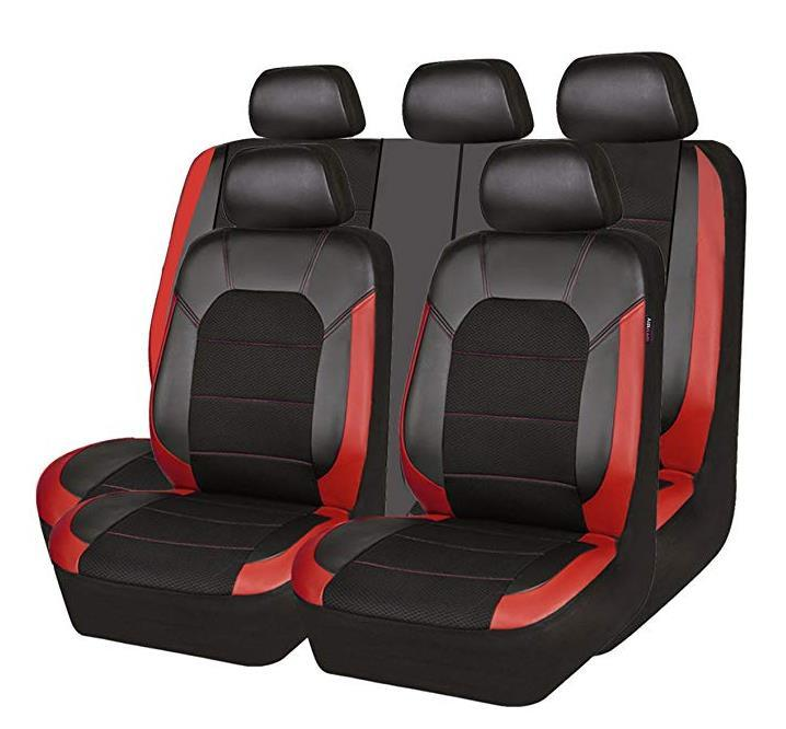 China Leather And Mesh Universal Fit Car Seat Covers Black And Red