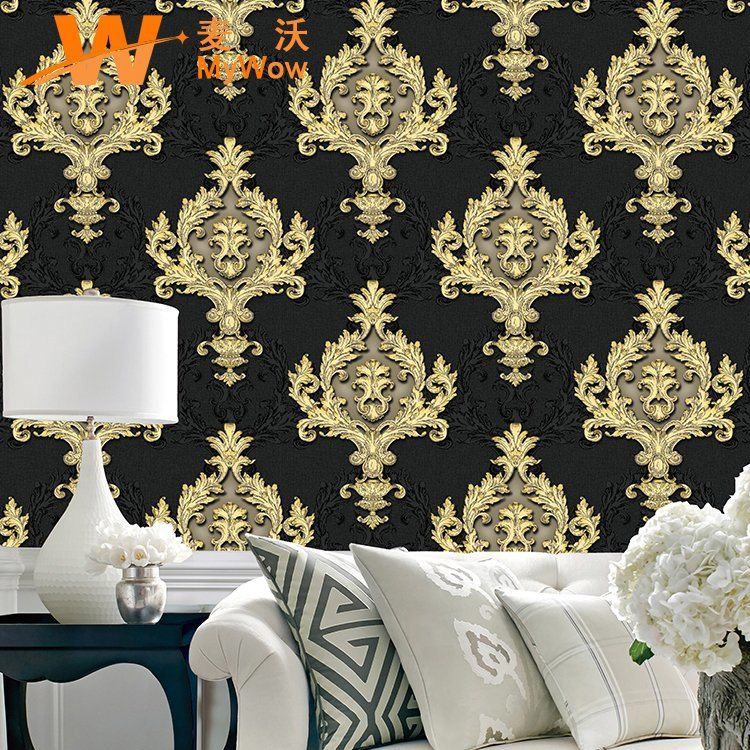 Hot Item Good Quality Wall Paper Damask Wholesale Vinyl Pvc Waterproof Wallpaper For Home Decor