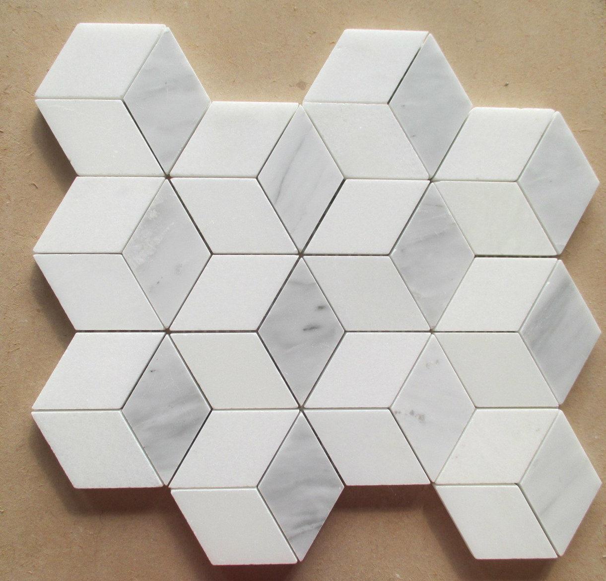 Hot Item Carrara White Marble Bathroom Kitchen Home Decor Wall 3d Hexagon Herringbone Mosaic Tiles
