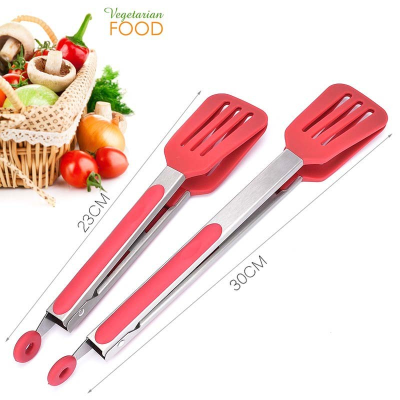 Stainless Steel Silicone Food Tong BBQ Salad Bread Kitchen Cooking Food Clip New