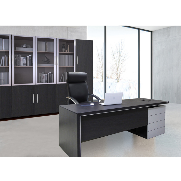China Black L Shape Modern Office Table