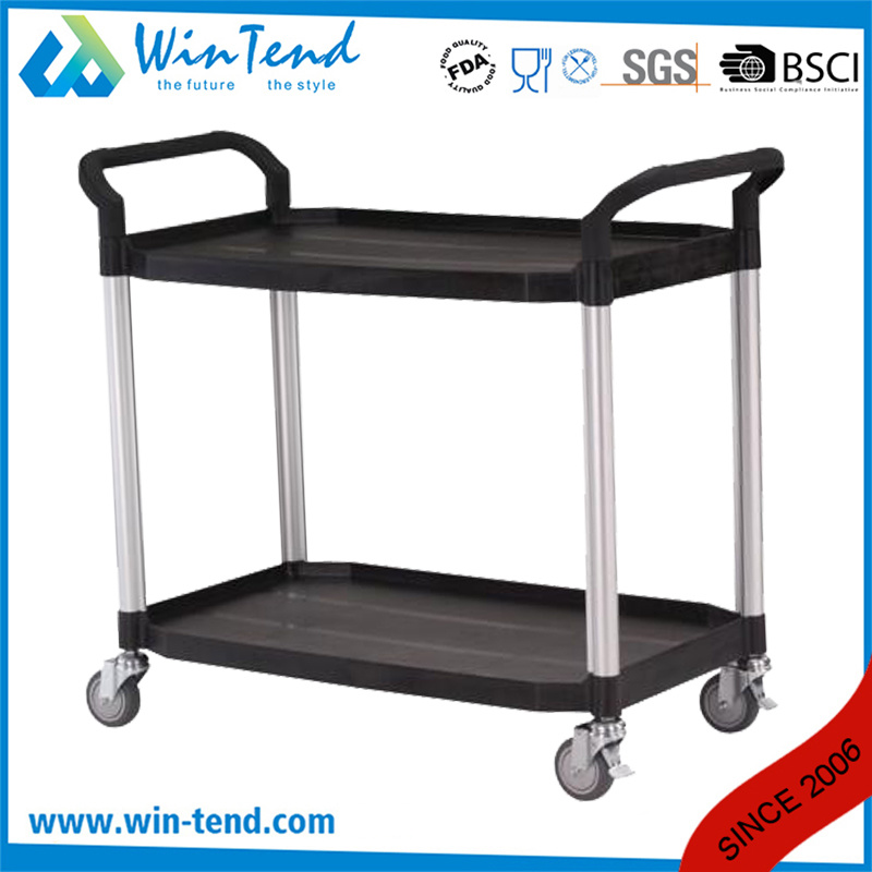 China 2 Tier All Color Collect Cleaning Plastic Trolley Baskets Cart With Wheels