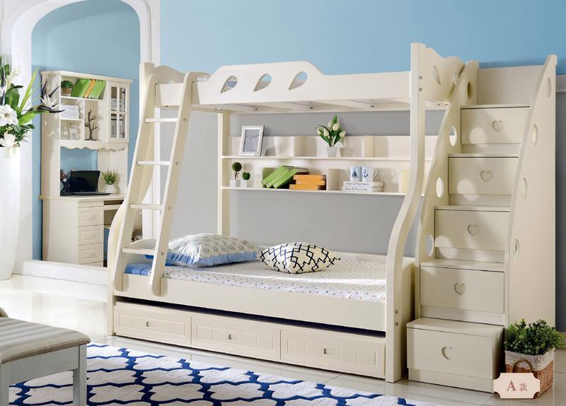 China Korean Style Wooden Kids Bunk Bed For Children Bedroom
