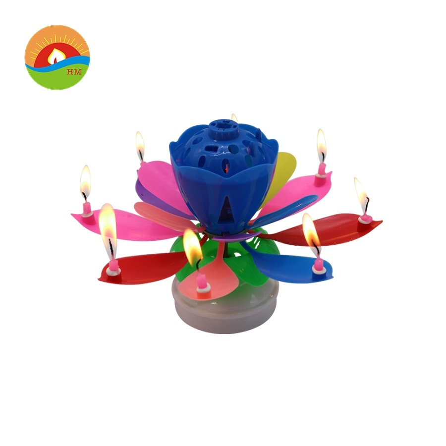 Wholesale Musical Rotating Cake Lotus Flower Birthday Candles