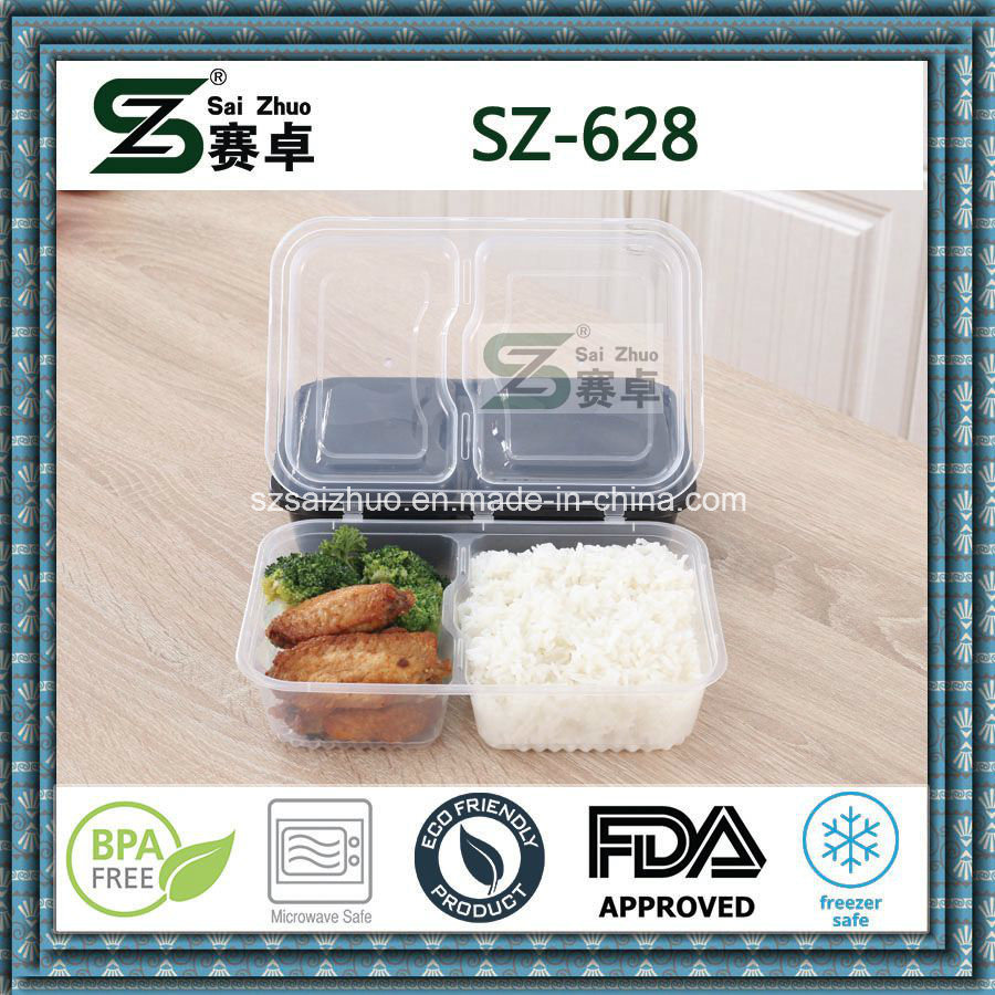 Black Microwavable Disposable Food Container with Hinged Lid