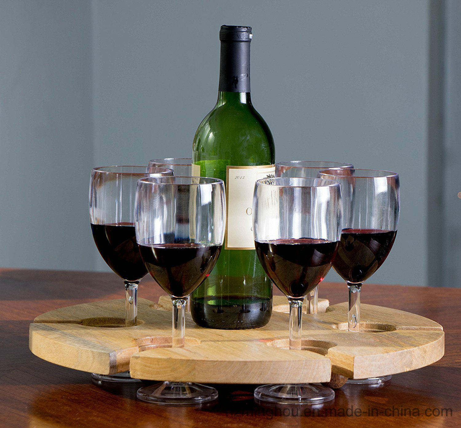China 6 Slot Wood Tabletop Wine Glass Holder And Serving Tray