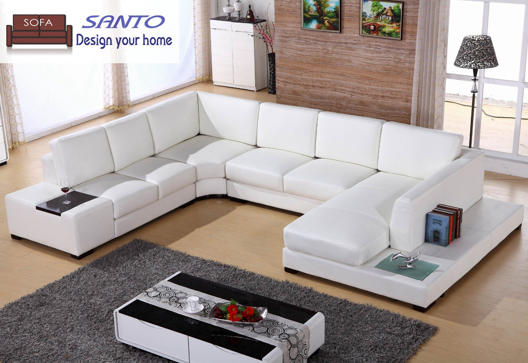 [Hot Item] Leather Sofa 9 Seater Sofa Germany Living Room Leather Sofa  Leather Sectional Combination Sofas U Shape Sectional Sofa