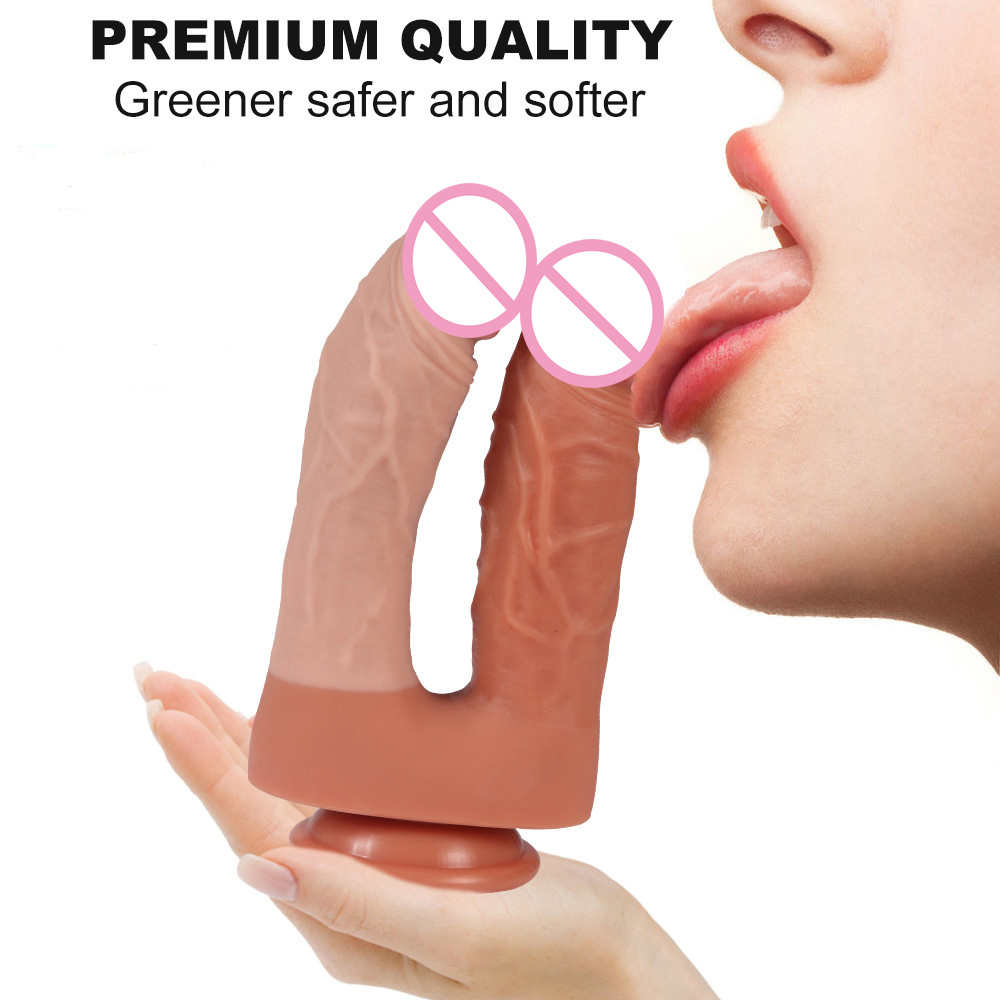 Silicone Double Realistic Dildo Double Layer Suction Cup Dildo Double Penetration for Both Vagina Anal Dildo for Woman pictures & photos