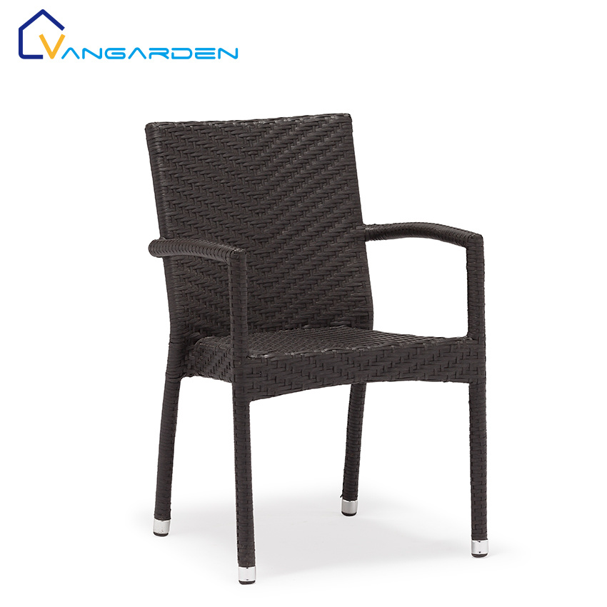 China Popular Black Rattan Dining Chair, Black Wicker Furniture
