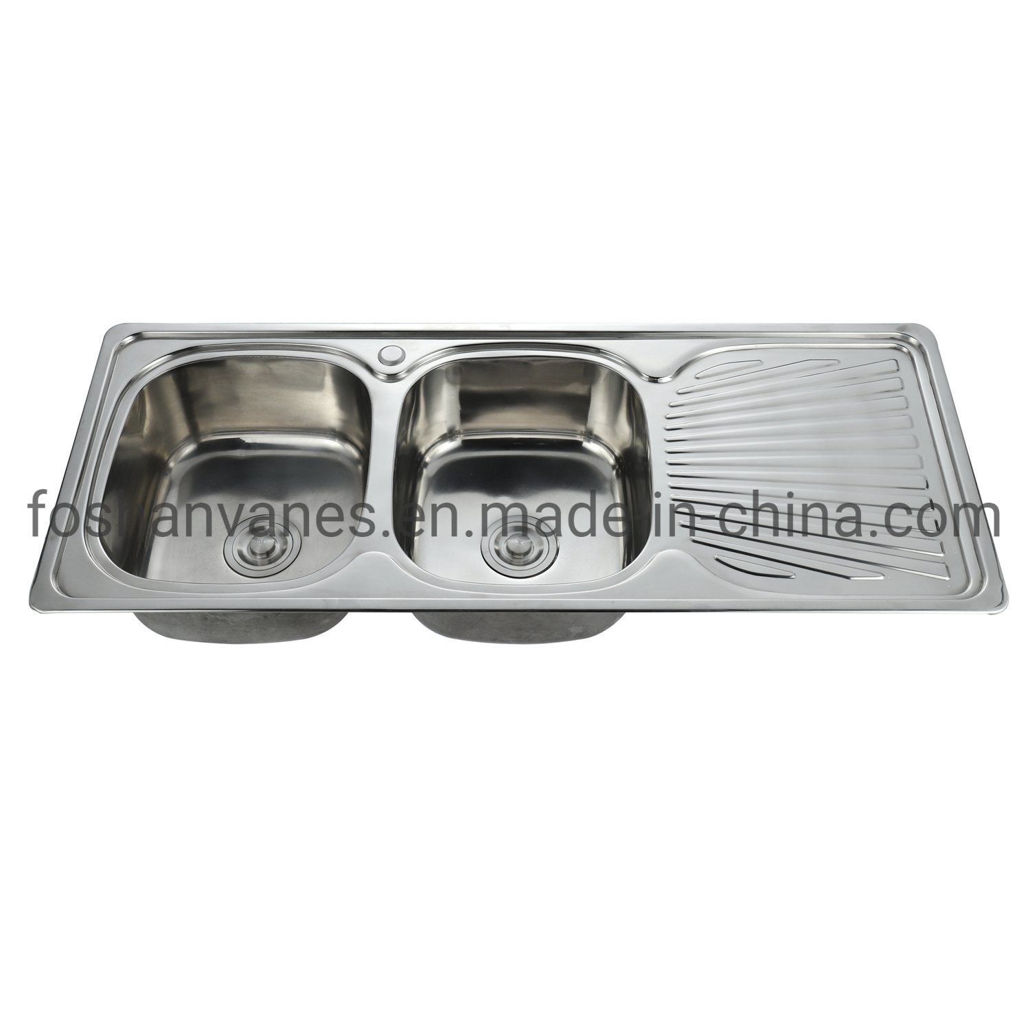 Image of: China Double Basin Stainless Steel Sink Polished Color Kitchen Wash Basin Undermount With Drainboard Ls 12050a China Double Basin Stainless Steel Sink