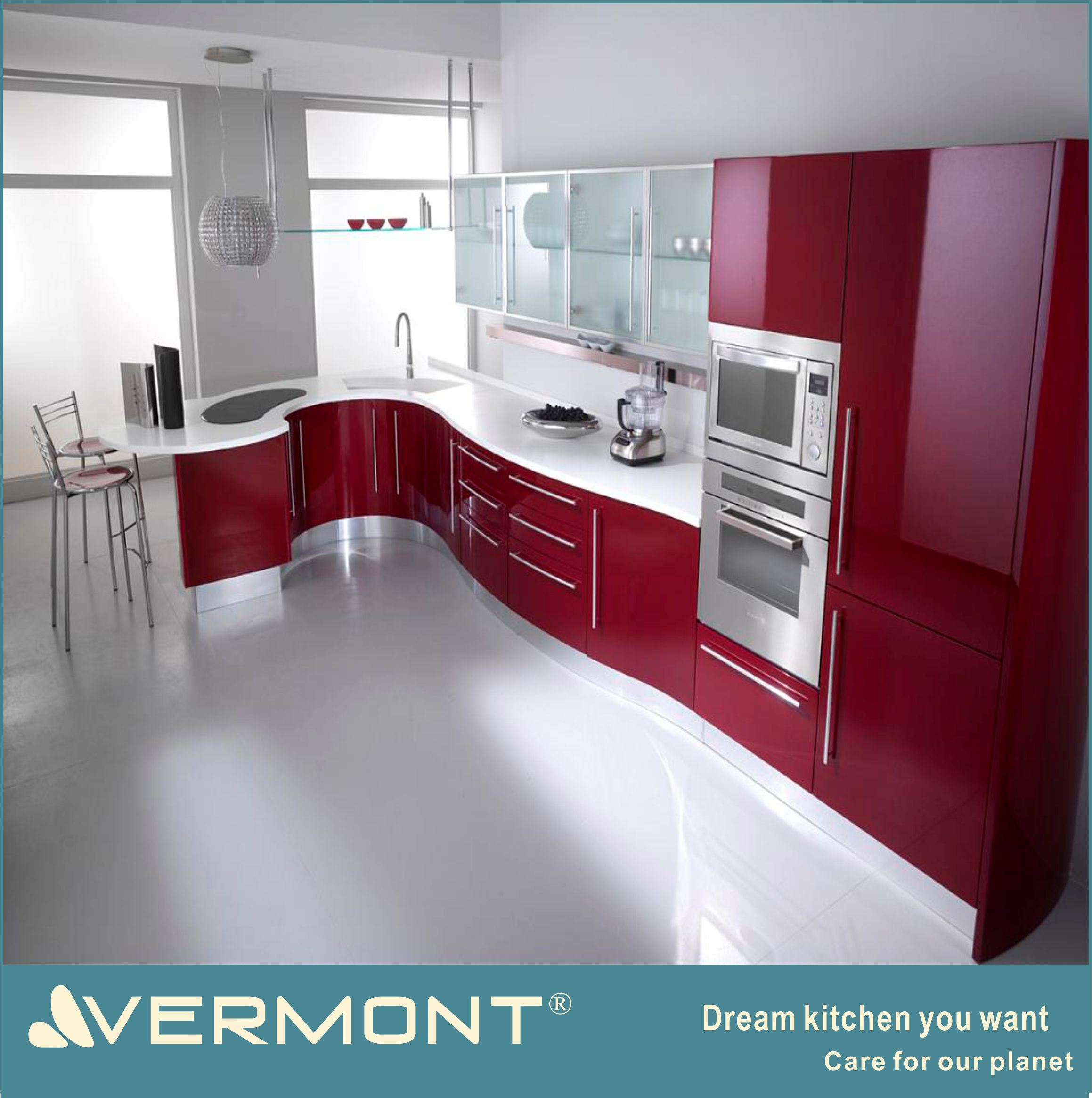 [Hot Item] Modern High Gloss UV Kitchen Cabinet/Red Modern Kitchen Cabinet