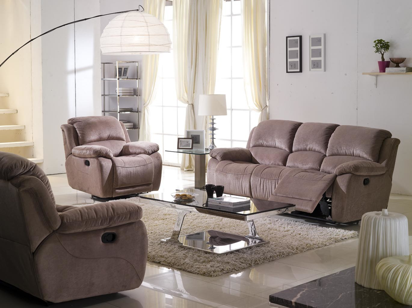 China Brown Fabric Recliner Sofa Set