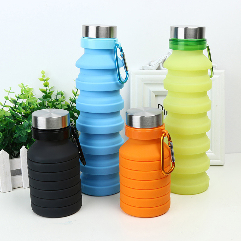 BPA Free FDA Approved Cycling Cups Reuseable Silicone Foldable Leak Proof Portable Sports Travel Water Bottles For Outdoor Camping Cup With Carabiner Collapsible Water Bottle Travel Gym Hiking
