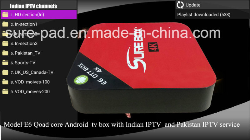 India IPTV Box Quad Core Rk3229 Android TV Box Pakistan IPTV Support 4k H. 265 Better Than Mxq PRO