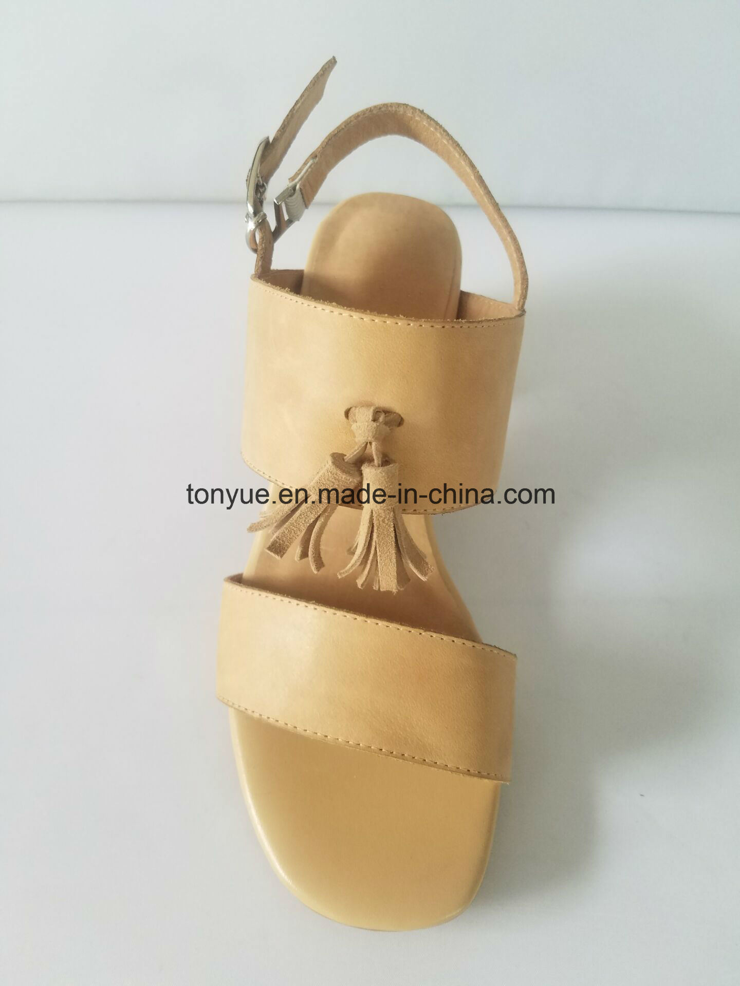 Lady Waxed Leather Square Flat Belt Tassel with Leisure Simple Sandals pictures & photos
