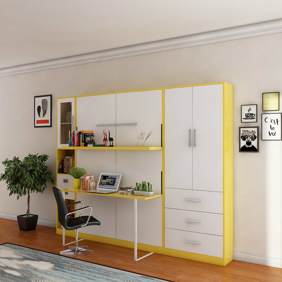 [Hot Item] Space Saving Wooden Murphy Bed Vertical Hidden Wall Bed with  Bookcase and Computer Desk