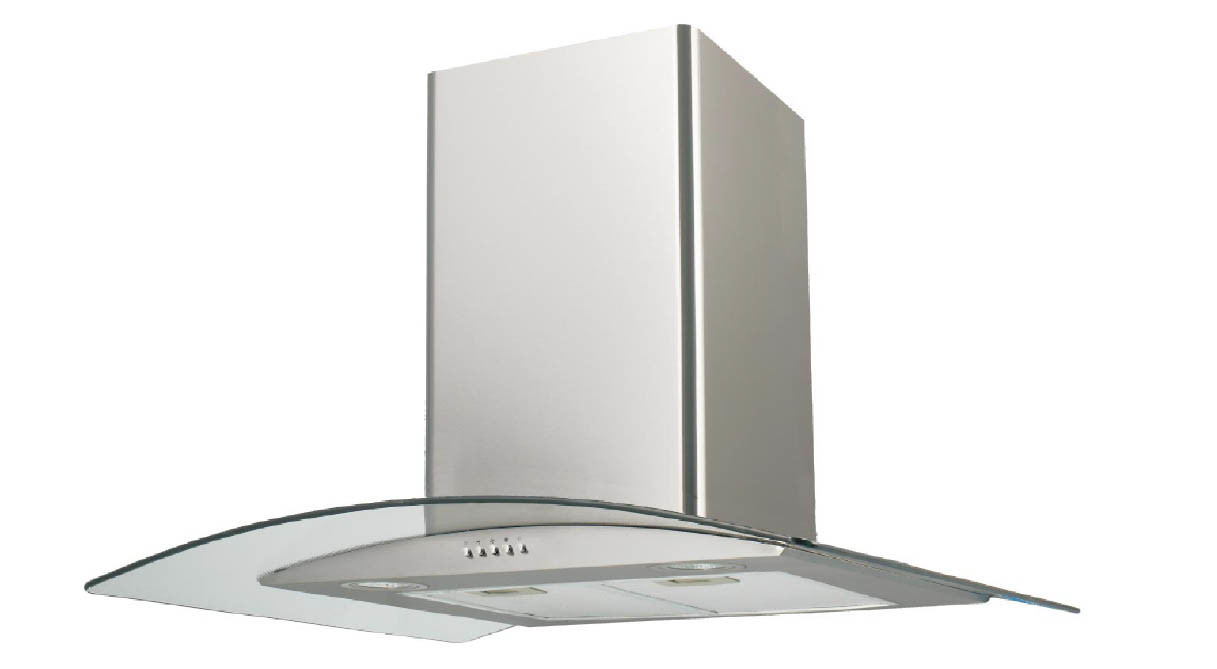 China 60cm 70cm 90cm Wall Mounted Curved Glass Chimney Extractor Cooker Hood