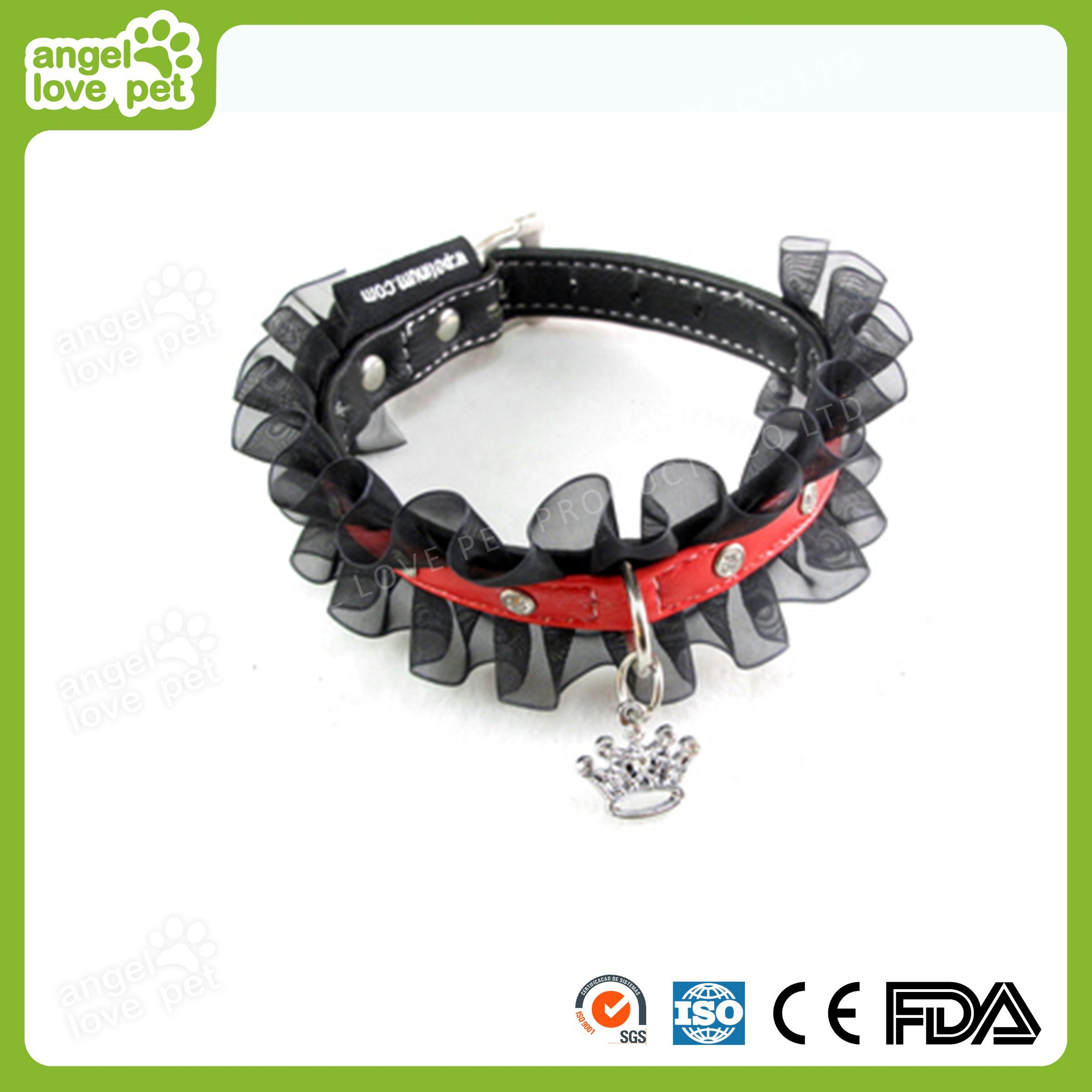 High Quality Leather with Diamond Lace Pet Collar, Pet Product
