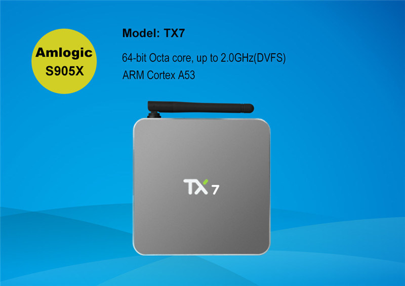Android 6.0 2g 16g Smart TV Box Tx7 Quad Core Amlogic S905X Real 4k HDMI Output TV Box Media Player