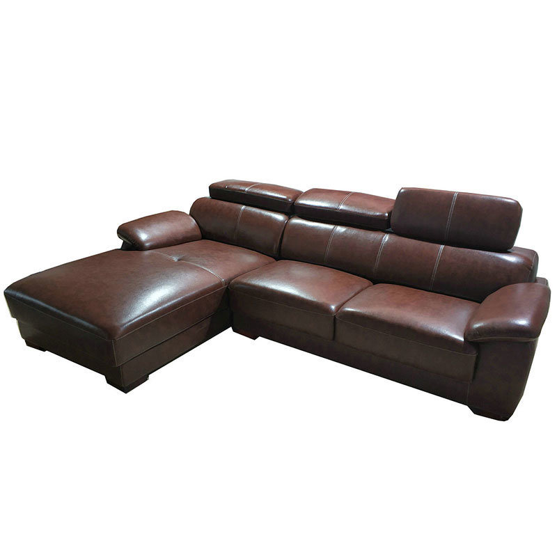 China Brown Color L Shape Chaise Couch Genuine Leather Sofa (301 ...