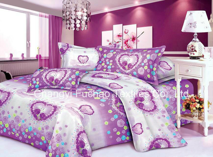Polyester Microfiber Plain Dyed Cheap Bed Sheet Set Bedding Set pictures & photos