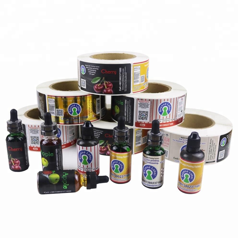 Hot item roll waterproof adhesive logo stickers printing product bottle custom printed labels