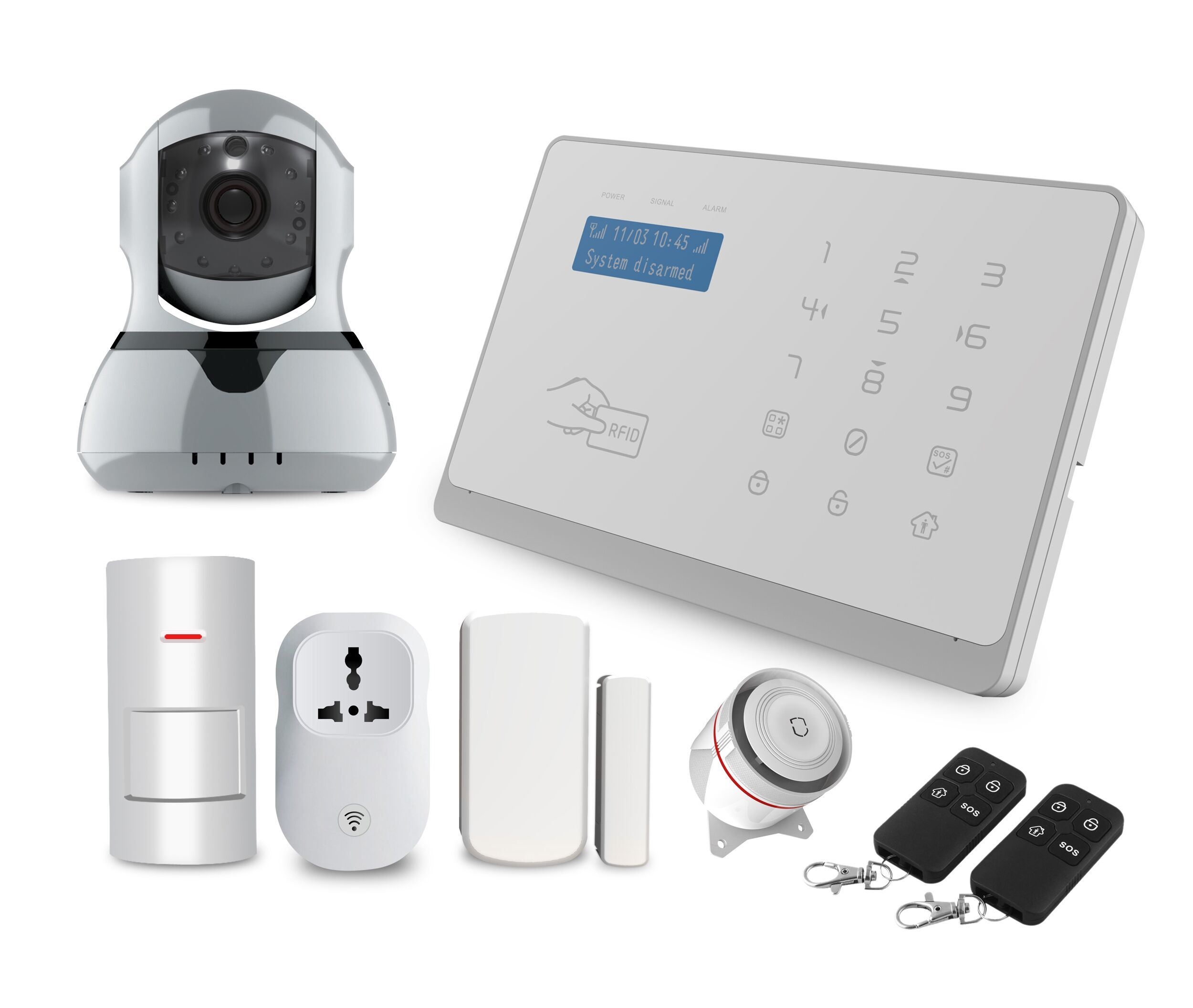 China Wireless Smart Home Burglar Security GSM and WiFi Alarm System with  RFID Card - China Alarm System, GSM Alarm System