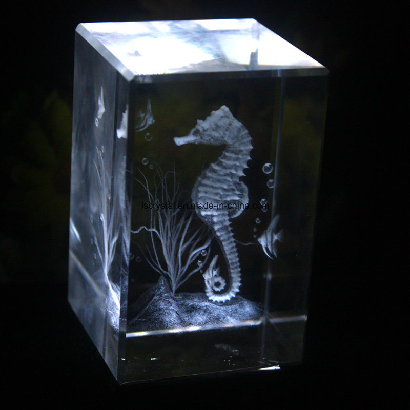 3D Laser Crystal Engraved Cube Block Craft for Souvenir