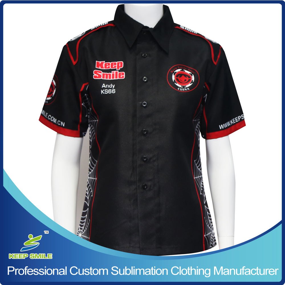 China Custom Sublimation Womens Pit Crew Race Shirts China
