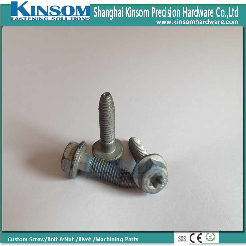 Torx Hexagon Six Lobe Flange Machine Screw with Shape Point Shank Dacromet Coating pictures & photos