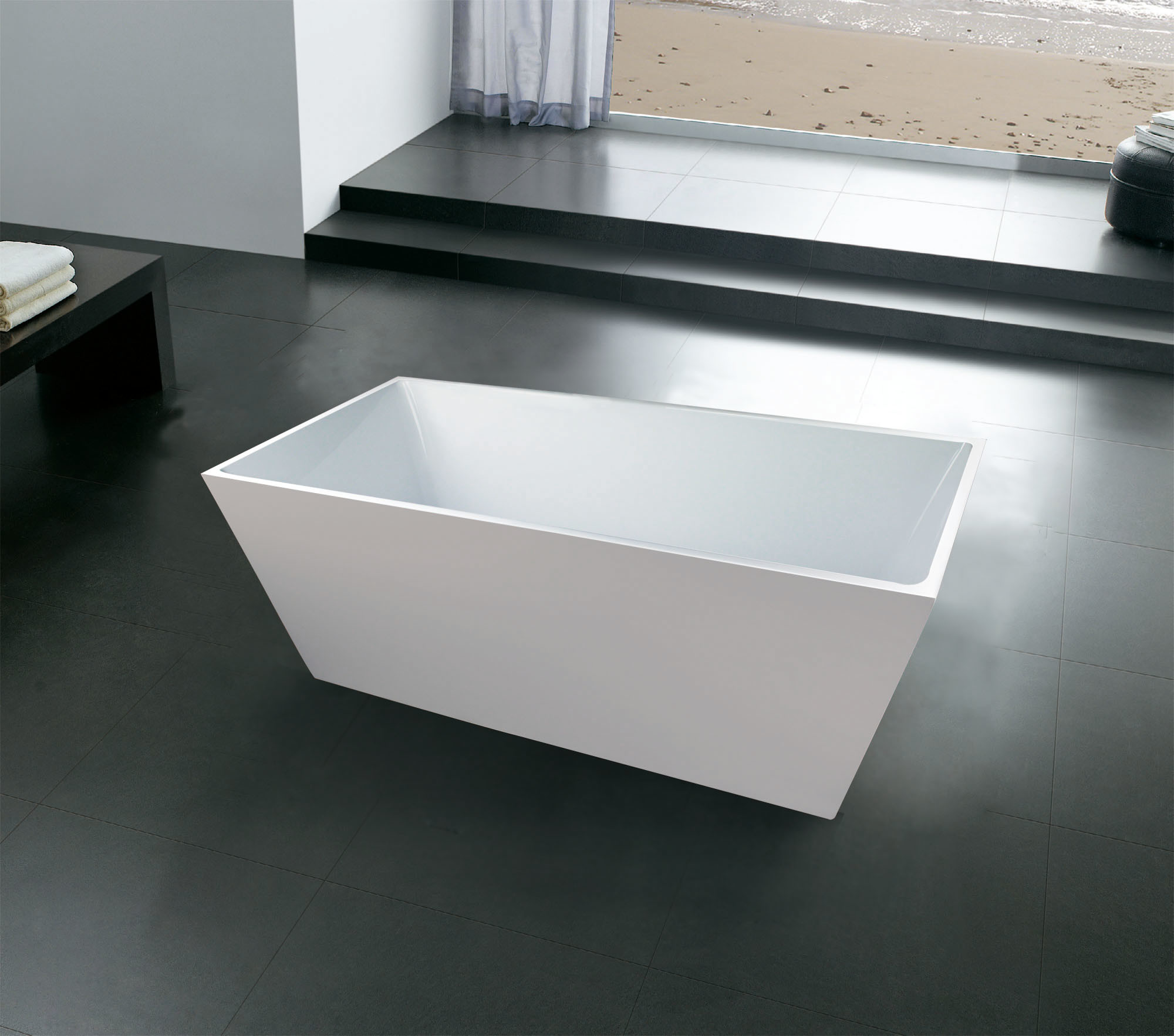 China Square Slim Rim Seamless Acrylic Bathtubs, 1500mm, 1600mm ...