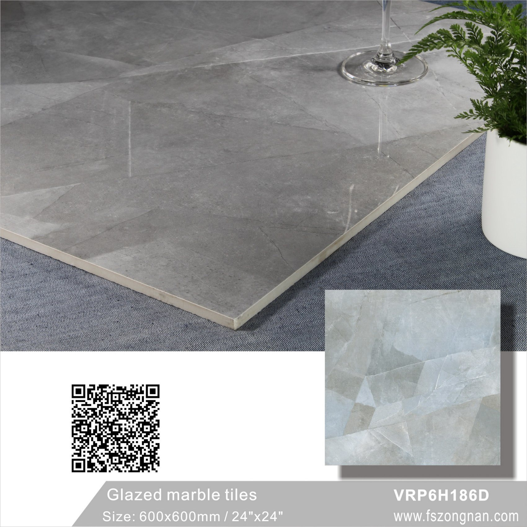 China Carara White Glazed Marble Polished Porcelain Floor Tile For