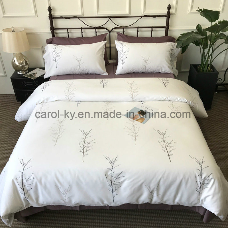 China Cotton High Quality White Printed Tree Branch Bedding Set Bed Linen