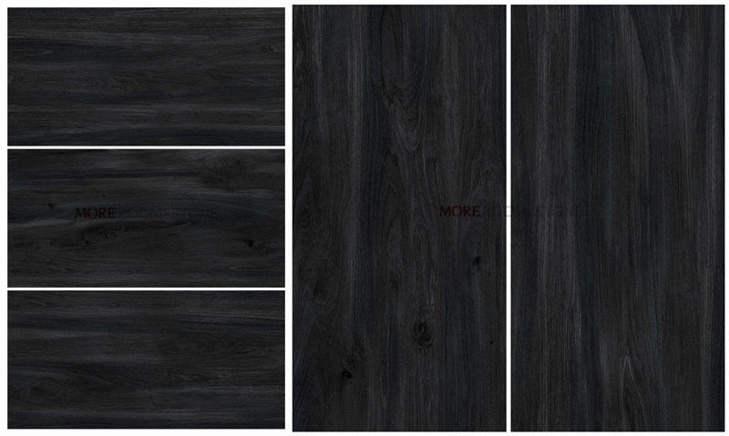 Black Wooden Grain Look Porcelain Tiles
